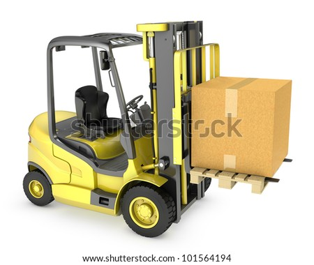 Yellow fork lift truck with large carton box, isolated on white background - stock photo