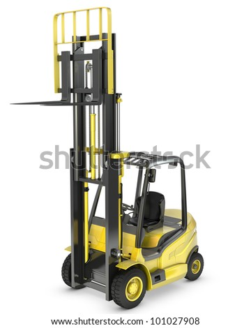 Yellow fork lift truck with raised fork, isolated on white background - stock photo