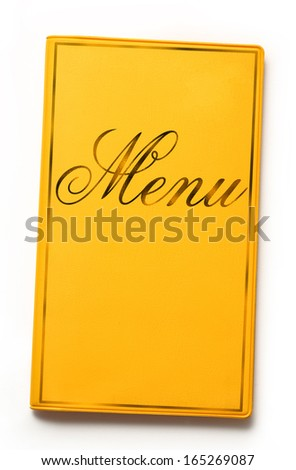 Yellow framed menu book on white