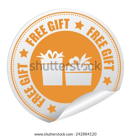 Yellow Free Gift Sticker, Icon or Label Isolated on White Background  - stock photo