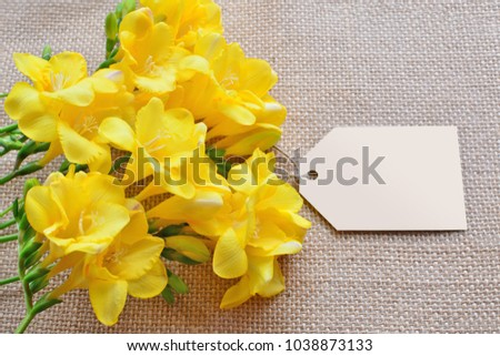 Yellow Freesia Flowers Empty Card Over Stock Photo Royalty Free