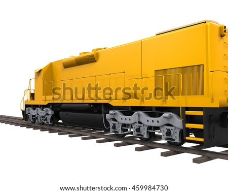 Yellow Freight Train. 3D rendering