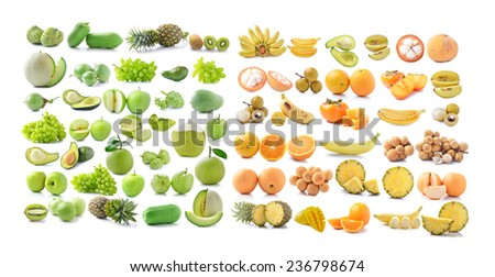 Yellow fruits and Fresh green fruit on white background - stock photo