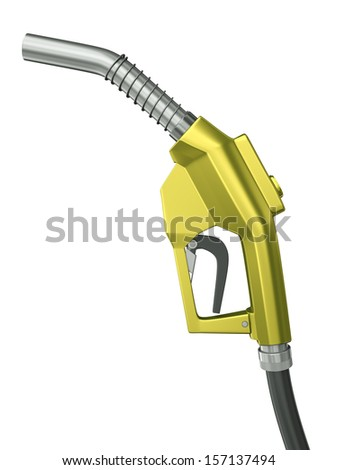 Yellow fuel nozzle isolated on a white background. 3D rendered illustration. - stock photo