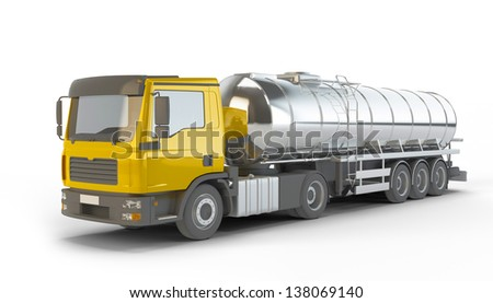 Yellow Fuel Tanker Truck isolated on white background - stock photo