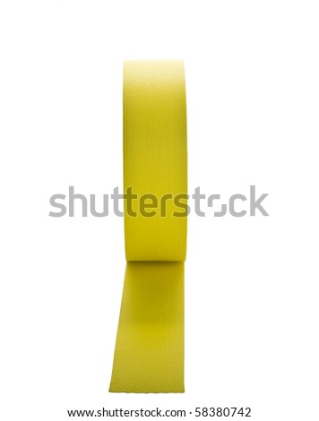 Yellow gaffers tape on roll isolated on white - stock photo
