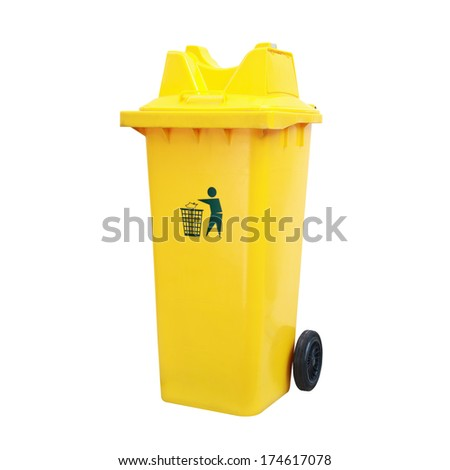 yellow garbage bins isolated white background.Clipping path. - stock photo