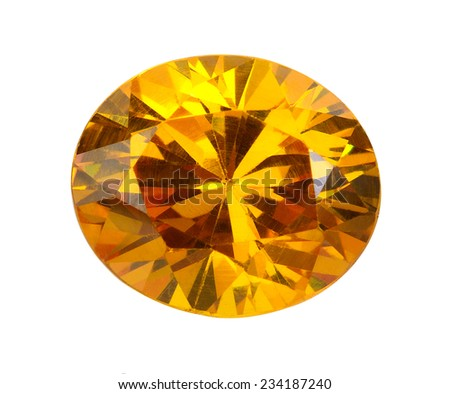 yellow gems on a white background - stock photo