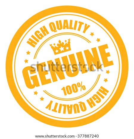 Yellow Genuine 100% High Quality Campaign Promotion, Product Label, Infographics Flat Icon, Sign, Sticker Isolated on White Background