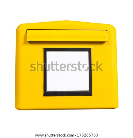 yellow german post box isolated on white background - stock photo