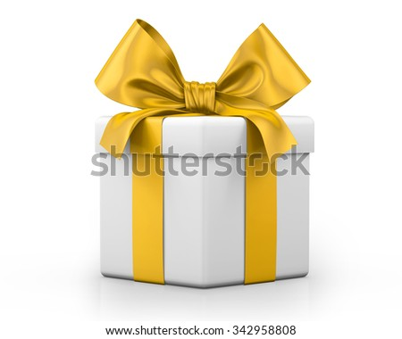 yellow gift box 3d  render - stock photo