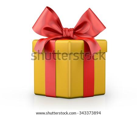 yellow gift box 3d  render - stock photo