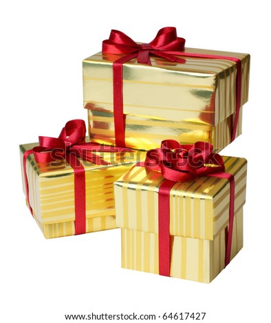 Yellow Gift Box on a white background - stock photo