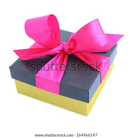 Yellow gift box with pink satin ribbon bow isolated on white