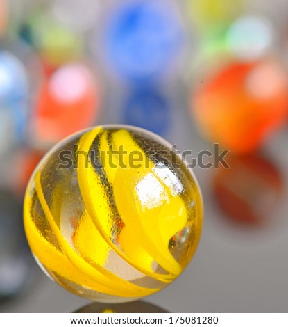 yellow glas ball isolated - stock photo