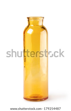 Yellow glass bottle on a white background
