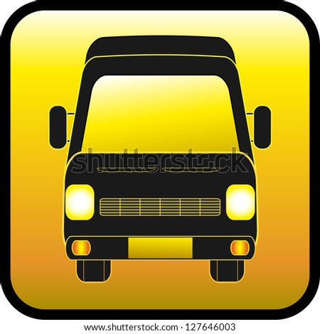 yellow glass button with mini bus silhouette