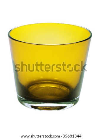 yellow glass on the white background