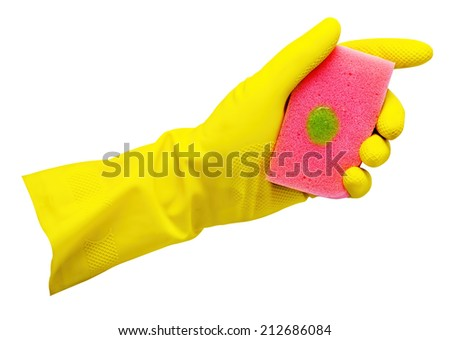 Yellow glove with a sponge isolated on white - stock photo