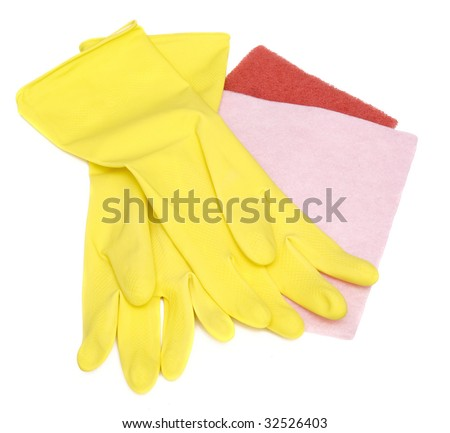 yellow gloves and cleaning tools on white