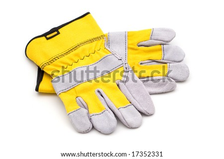 yellow gloves on white background