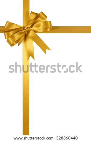 Yellow gold gift ribbon bow vertical isolated on white background