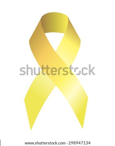Yellow (gold) ribbon symbolizing the problems of suicide, bone tumor, attention deficit hyperactivity disorder, childhood cancer - stock photo