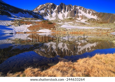 Yellow grass on the shore of a calm mountain lake surrounded by distant summits
