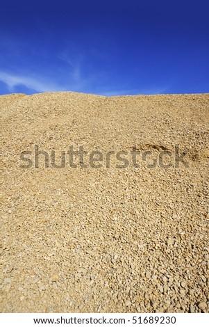 yellow gravel sand quarry mountain for construction concrete - stock photo