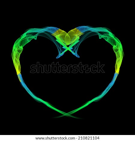 YELLOW, GREEN AND BLUE HEART MADE BY RIBBONS  - stock photo