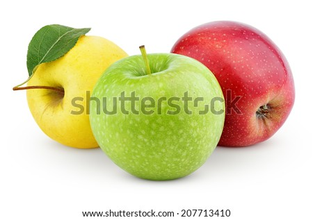 Yellow, green and red apples isolated on white with clipping path - stock photo