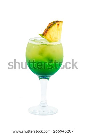 yellow green cocktail isolated with clipping path