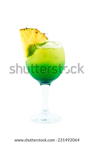 yellow green cocktail isolated with clipping path on white background - stock photo