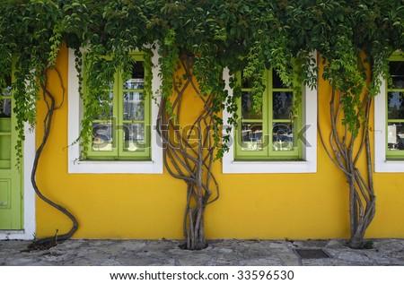 yellow green fasade in Fiscardo, Kefalonia, Greece - stock photo