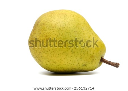 Yellow-green pear on a white background.