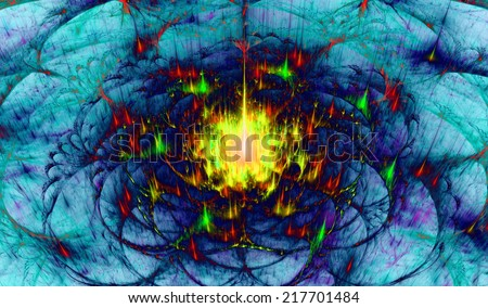 Yellow, green, red and blue abstract beaming fractal tower in high resolution with a detailed decorative dividing arches surrounding the central beam of light - stock photo