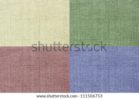 yellow, green, red and blue natural linen texture for the background