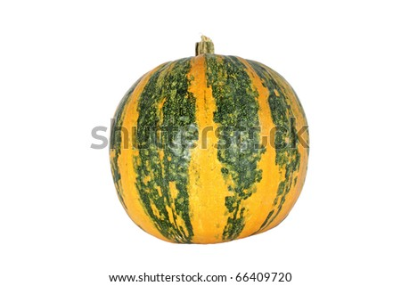 Yellow green ripe pumpkin isolated on white - stock photo