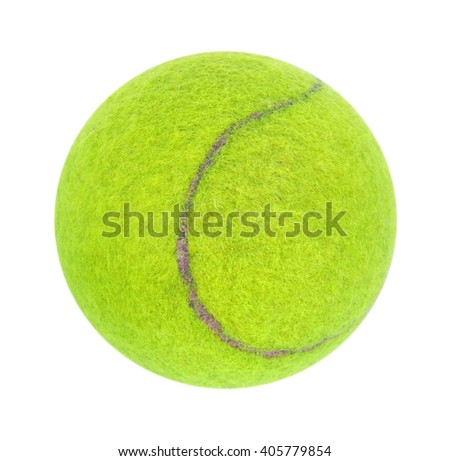 Yellow-green tennis ball isolated on white background - stock photo
