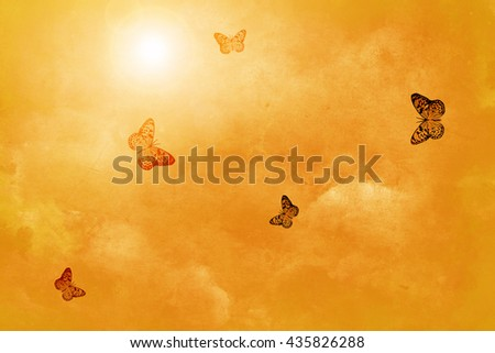 Yellow grunge background with butterfly - stock photo