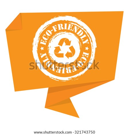 Yellow Grunge Eco-Friendly Paper Origami Speech Bubble or Speech Balloon Infographics Sticker, Label, Sign or Icon Isolated on White Background - stock photo