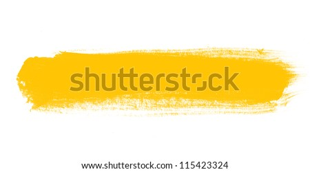 Yellow hand painted brush stroke daub background - stock photo