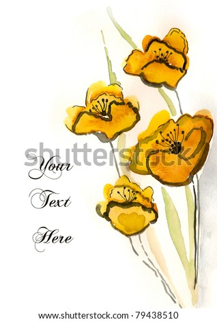 Yellow hand-painted flowers for your greeting card - stock photo