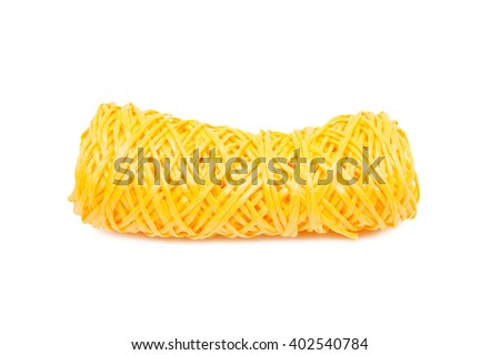 Yellow hank yarn of polyester on a white background - stock photo