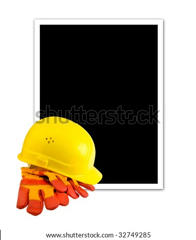 Yellow hard hat and protective gloves isolated with empty frame - stock photo