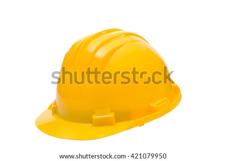 Yellow hard hat isolated on white, Construction Hard Hat  - stock photo