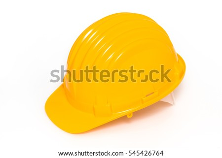 Yellow hard hat on white background