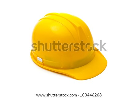 Yellow hard hat, protective equipment in construction industry. - stock photo