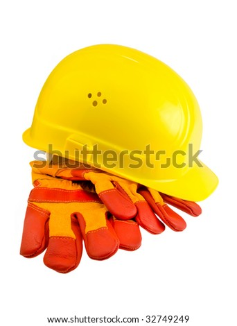 Yellow hard hat, protective gloves and steel  isolated - stock photo