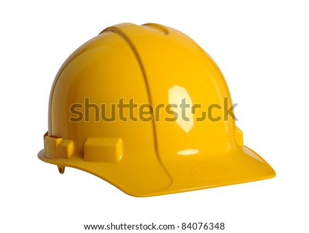 Yellow hardhat isolated over white background - With clipping path
